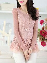Autumn Spring  Women  Round Neck  Decorative Lace  Plain Long Sleeve T-Shirts