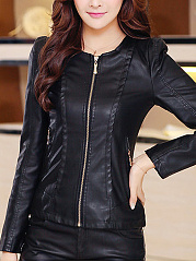 Faux Leather Plain Zipper Awesome Round Neck Jacket