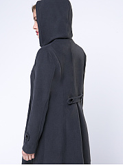 Hooded Double Breasted Vented Plain Coat