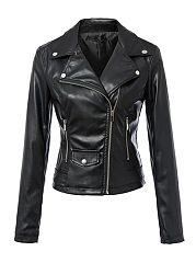 Alluring Lapel With Zips Motorcycle Jacket