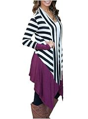 Comfortable Color Block Striped Cardigan