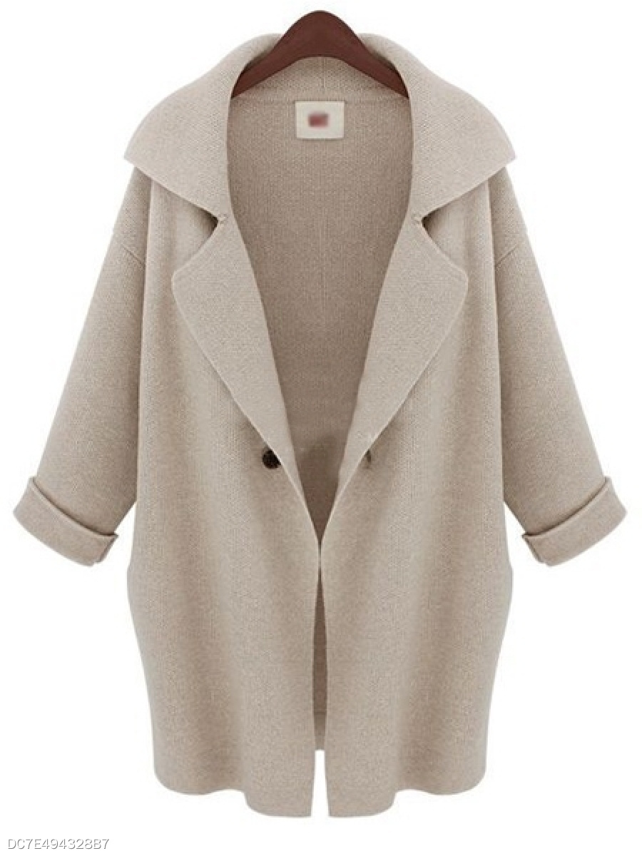 Lapel  Plain  Roll-Up Sleeve  Long Sleeve Coats