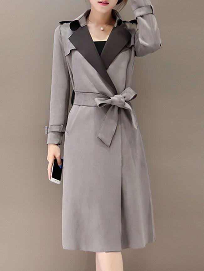 Stylish Lapel With Pockets Plain Trench-Coats