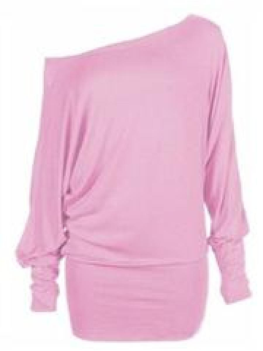 Exquisite Asymmetric Neckline Plain Long-Sleeve-T-Shirts ...