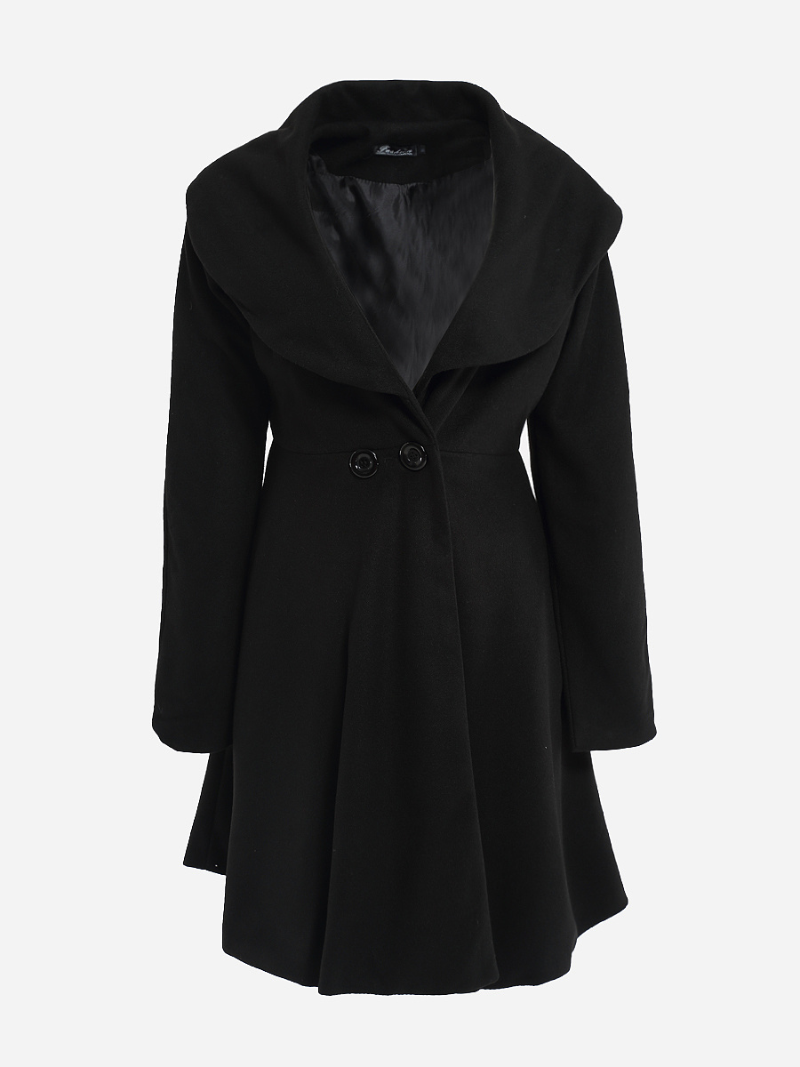 Loose Fitting Lapel Dacron Plain Overcoats