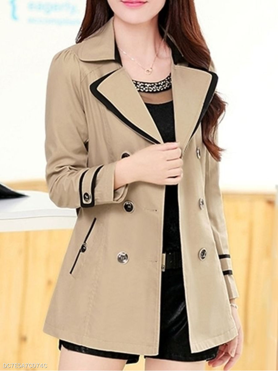 Lapel  Double Breasted Slit Pocket  Plain  Long Sleeve Trench Coats