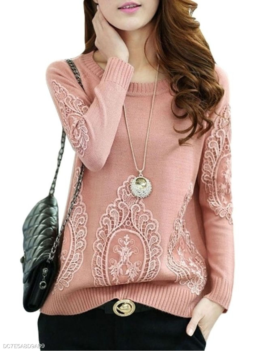 Plain Solid Fascinating Crew Neck Pullover