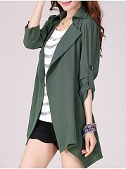 Women's Lapel With Pockets Asymmetrical Hems Plain Trench-Coats