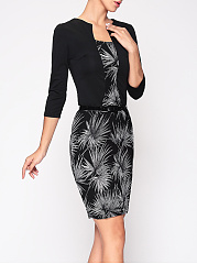 Women Office Printed Fake Two-Piece Bodycon Dress