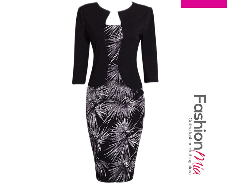 thickness:regular, brand_name:fashionmia, style:office outfit, material:blend, sleeve:three-quarter sleeve, more_details:belt, pattern_type:printed, length:knee-length, occasion:formal,office, season:autumn,spring, dress_silhouette:fitted, package_included:belt*1,dress*1, dress lengthshoulder widthsleeve lengthbustwaistlinehipline