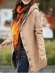 Hooded  Single Breasted  Plain  Long Sleeve Cardigans