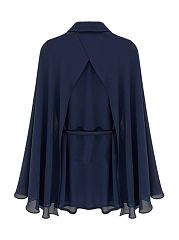 Autumn Spring  Polyester  Women  Turn Down Collar  Belt  Plain  Cape Sleeve  Long Sleeve Blouses