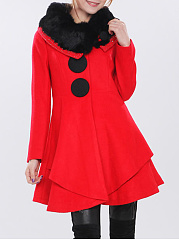 Lapel Fur Collar Plain Woolen Coat