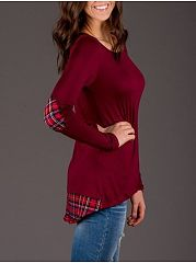 Autumn Spring  Cotton  Women  Round Neck  Patchwork  Plain Long Sleeve T-Shirts