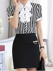 Spring Summer  Chiffon  Women  Turn Down Collar  Flounce Single Breasted  Striped  Short Sleeve Blouses