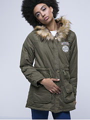 Hooded  Drawstring Patch Pocket Padded Coats