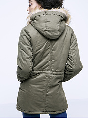 Warm Hooded Drawstring Patch Pocket Padded Coat