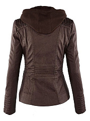 Hooded  Zips  Decorative Hardware  Plain  Long Sleeve Jackets