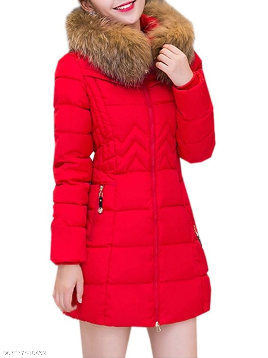 Plain Fur Collar With Zips Comfortable Overcoat