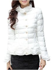 Falbala Single Breasted Comfortable High Neck Coat