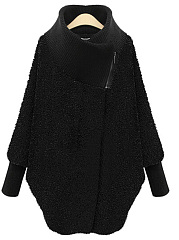 Asymmetrical Hems Comfortable Turtleneck Coat