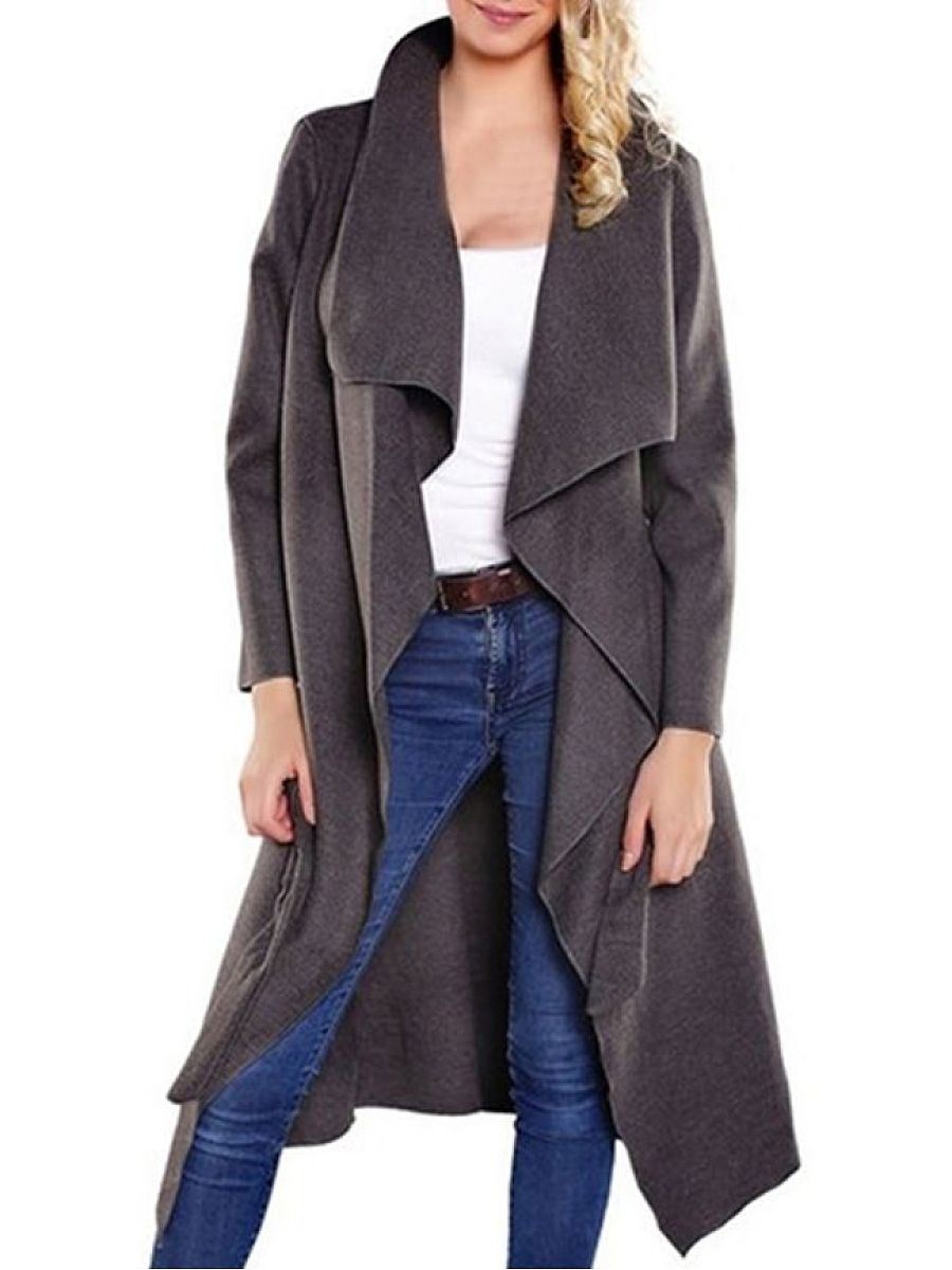 Extraordinary Lapel Plain Woolen Coat