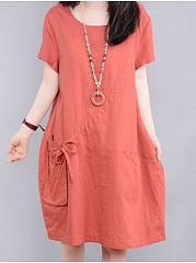 Charming Round Neck With Pockets  Shift-Dresses