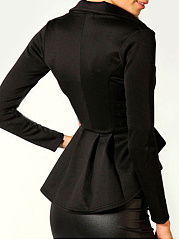 Notch Lapel Single Button Ruffled Hem Plain Blazer