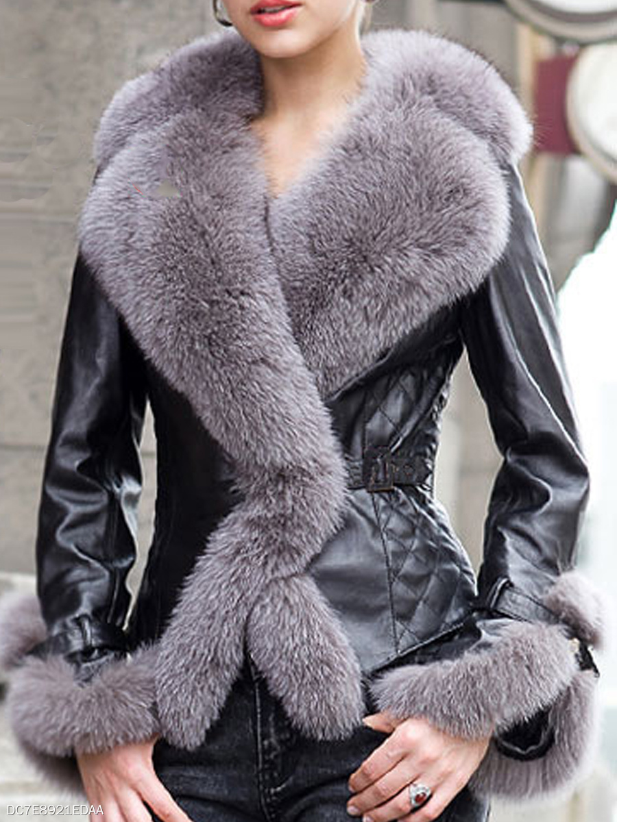 Patchwork Fur Collar Fabulous Overcoats