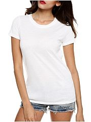 Back Hollow Out Trendy Plain Short-Sleeve-T-Shirts