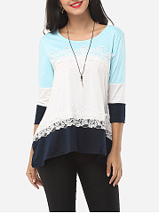 Autumn Spring  Cotton  Women  Round Neck  Asymmetric Hem Decorative Lace  Color Block Long Sleeve T-Shirts