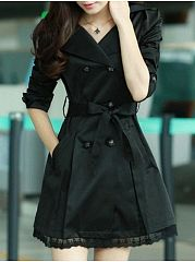 6 Color Lapel Breasted Lace Patchwork Trench-Coats