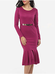 Round Neck Plain Mermaid Bodycon Dress
