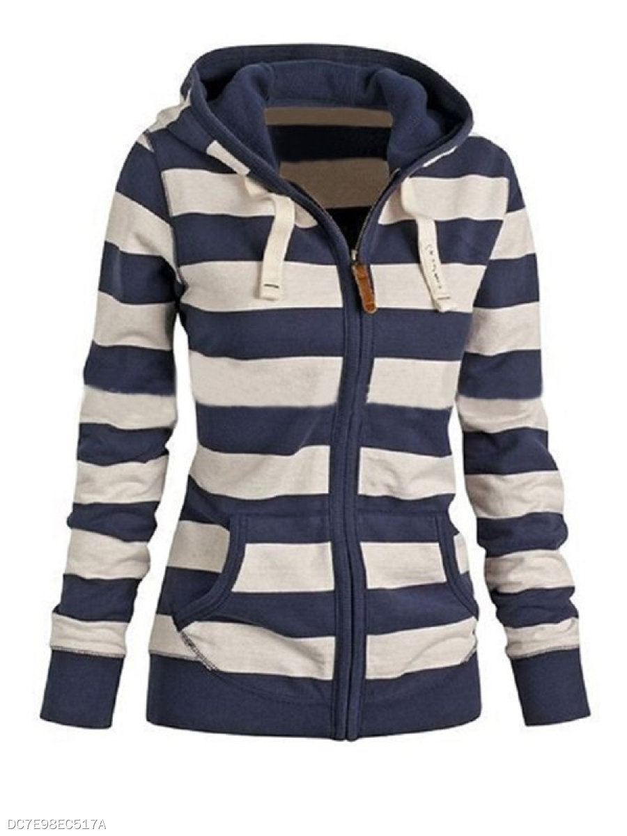 Striped Attractive Hooded Hoodies