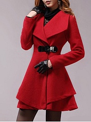 Lapel Single Button Plain Swing Woolen Coat