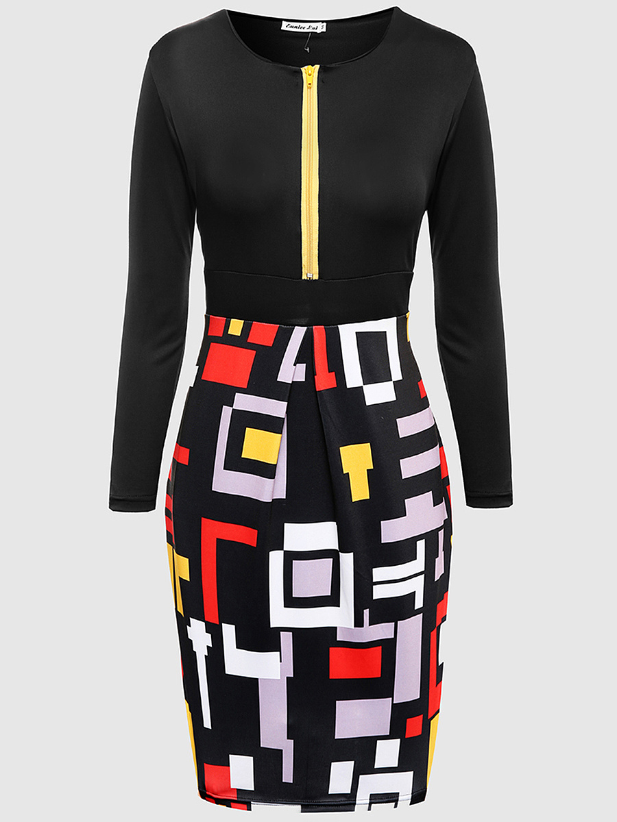Vintage Geometric Color Block Bodycon Dress