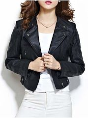 Stylish-Lapel-With-Chain-With-Zips-Plain-Jackets