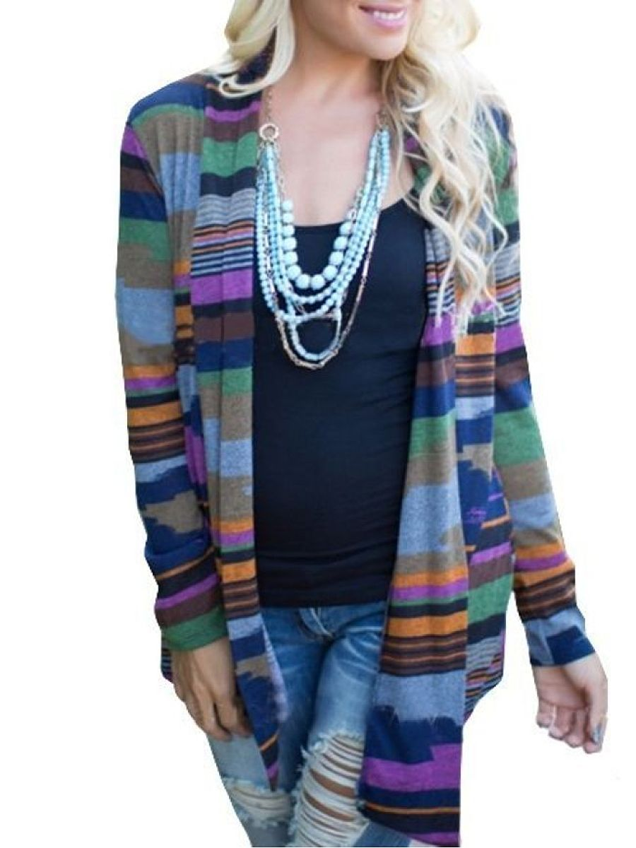 Assorted Colors Geometric Comfortable Cardigan