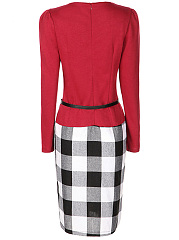 Office Plaid Belt Fake Two-Piece Bodycon Dress