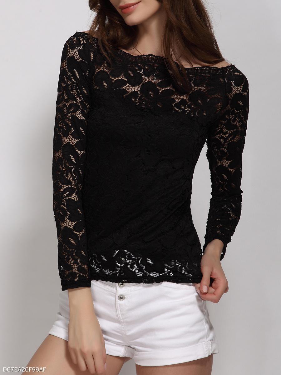 52f55fa553d Autumn Spring Lace Women Off Shoulder Floral Long Sleeve Blouses ...