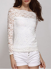 Autumn Spring  Lace  Women  Off Shoulder  Floral  Long Sleeve Blouses