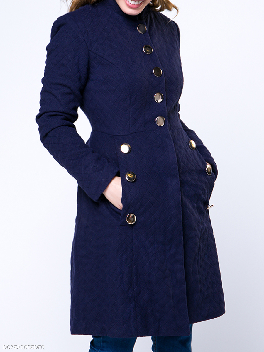 Band Collar  Slit Pocket  Decorative Button  Plain  Long Sleeve Coats