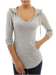 Concise V Neck With Pockets Plain Hoodies