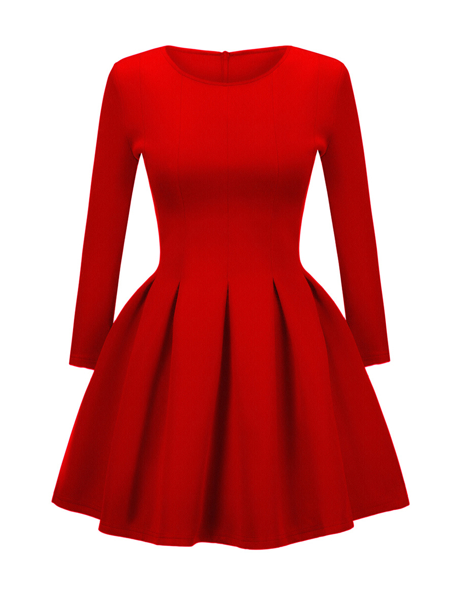 Stylish Round Neck Plain Skater Dress