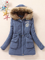 Comfortable Hooded Pocket Fleece Lined Padded Coat