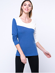 Autumn Spring Winter  Blend  Women  Round Neck  Patchwork  Color Block Long Sleeve T-Shirts