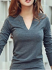 Comfortable V Neck Long-Sleeve-T-Shirt