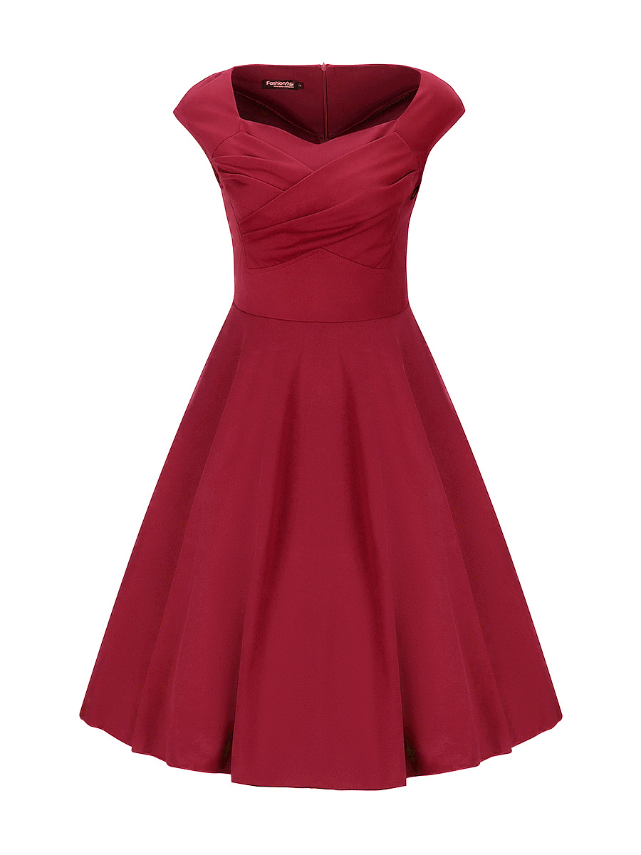 Vintage Sweet Heart Solid Skater Dress