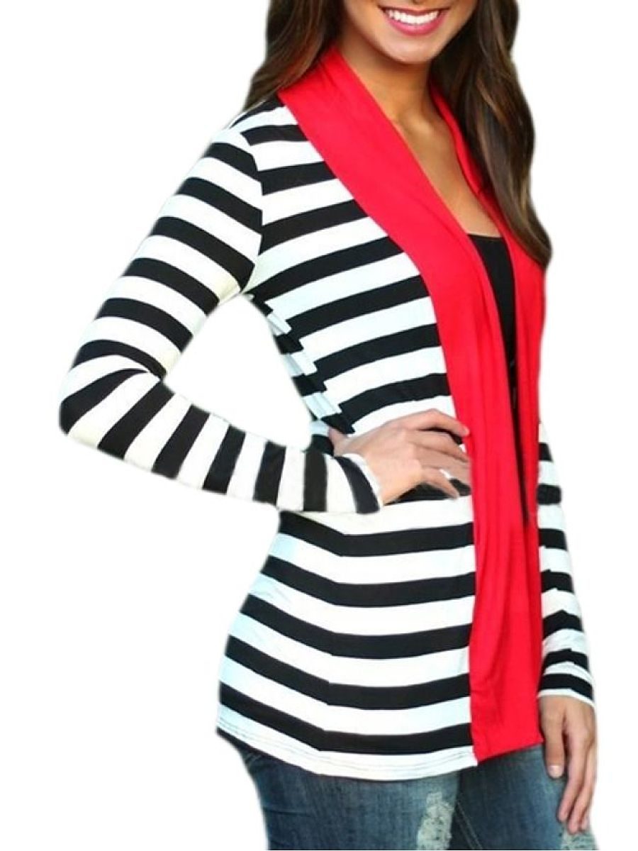 Striped Attractive Collarless Cardigan