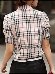 Spring Summer  Polyester  Women  Turn Down Collar  Plaid  Short Sleeve Blouses